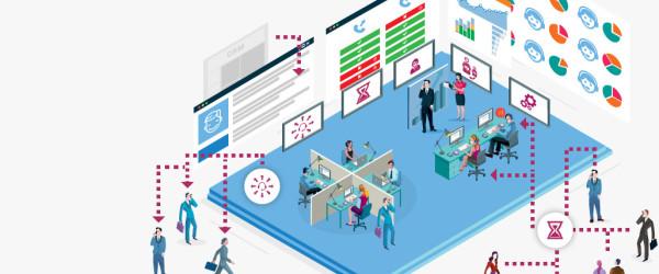 Infografika biuro VoIP ilustracja