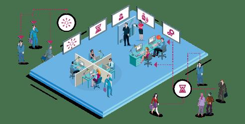 Biuro i system telekomunikacyjny, funkcje VoIP, praca, firma - ilustracja
