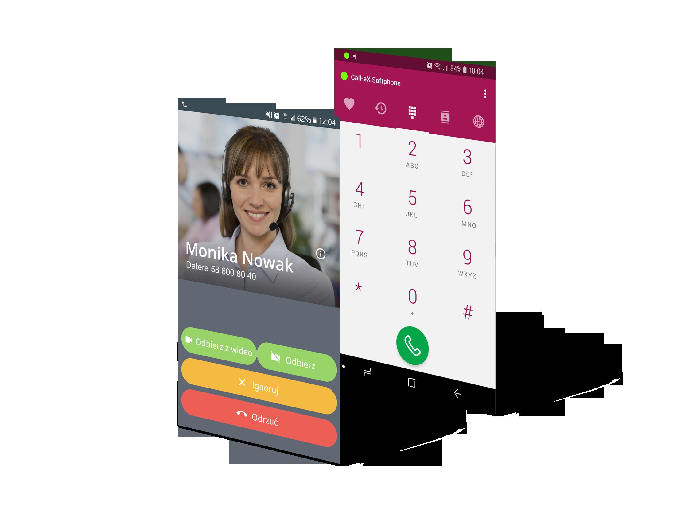 Ekrany aplikacji Call-eX Softphone