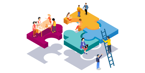 Praca zespołowa, budowa systemu, pracownicy, biznes, ilustracja izometryczna